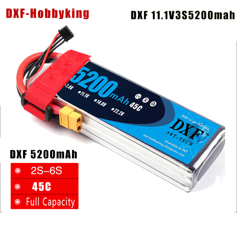 2017 DXF Good Quality  Li-Poly Battery  11.1V 5200mAh 45C MAX90C 3S RC Car Lipo Bateria For Race Car Multicopter Quadcopter<br>
