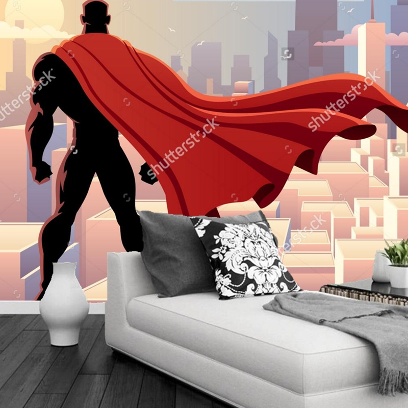 Custom papel de parede infantil, Superhero Mural for sitting room sofa bedroom TV wall waterproof vinyl papel DE parede<br>