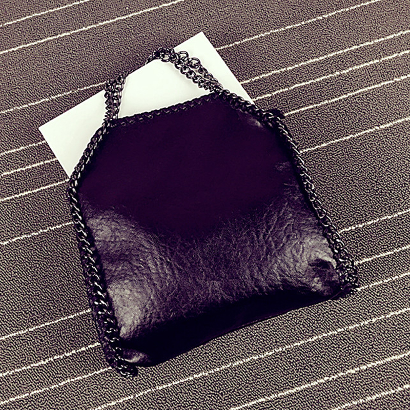 Luxury Women Crossbody Bags Stella Silver Chain Bags Washed PU Leather Punk Style Falabellas Black Purse Handbags 25*25cm <br>