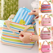 2016 Practical Home Travel Bag Picnic Carry Tote Case Insulated Thermal Cooler Striped Storage Bag(China)
