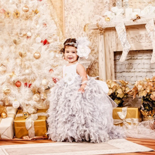 Little Girls Thanksgiving Pageant Dresses Scoop Fluffy Feather Tulle Flower Tutu Baby Vestidos de bautizo Christening gowns 2017
