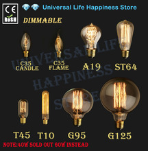 60W 40W Vintage Antique Retro Style Lighting Filament Edison Lamp Light Bulb E27 110V 220V G125 G95 ST64 T45 A19 T10(China)