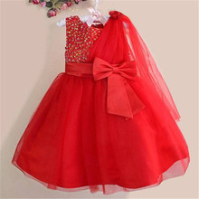 Hot Retail! Girl red flower party Dresses Lovely Chiffon Pearl Dress princess dress for new year free shipping 8 colors  618