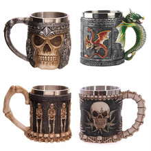 Personalized Double Wall Stainless Steel 3D Skull Mugs Coffee Tea Bottle Mug Skull Knight Tankard Dragon Drinking Cups Kup Milk(China)
