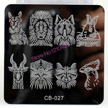 New Nail Art Stamping Plates Square Flower Animal Apes Monkey Rabbit Image Stamping Polish Transfer Stencil Template Manicure