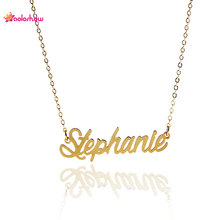 "AOLOSHOW Name Letters Necklace ""Stephanie"" Gold color Stainless Steel Necklace Name Charm Nameplate Statement Necklace NL-2430"
