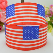 "DUWES 1.5"" 38mm 4TH of July Independence Day red white blue Patriotic flag Printed grosgrain ribbon,hair bow DIY 50YD(China)"