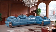 American leather sofa set living room sofa China wooden frame L shape corner sofa blue