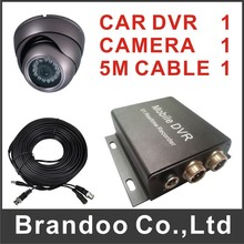 1 camera DVR system, including 1pcs 1CH CAR DVR+1PCS DOME CAR CAMERA+1PCS 5 meters VIDEO CABLE(China)