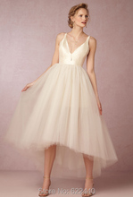 Sexy V-neck Tulle A-line High Low Wedding Dresses Ankle Length Wedding Gowns Short Front Long Back Bridal Gown