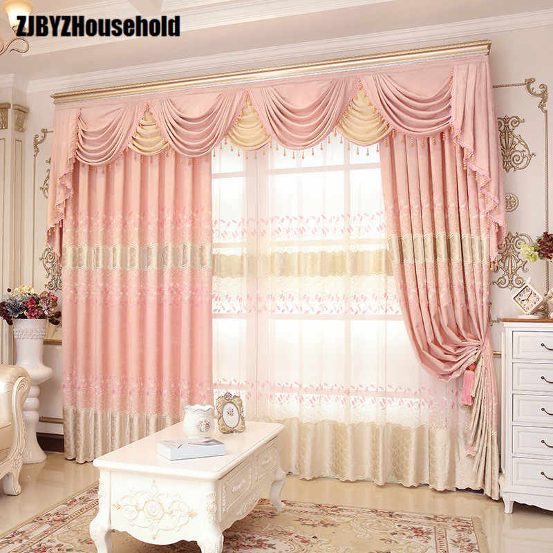 Athena Pink Leaves  Garden Chenille Embroidery Europe Style Luxury Curtains for Living Room Modern Drape Valance Bedroom