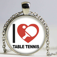 New Table Tennis Necklace I Love Pingpong Jewelry Glass Dome Photo Pendant Handmade Accessory Gifts Men(China)