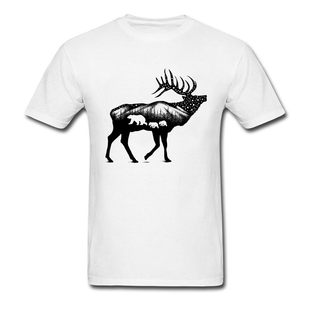 ELK 100% Coon Fabric Tshirts for Boys Short Sleeve Cool Tops T Shirt Graphic Summer O Neck T-Shirt Normal Wholesale ELK white