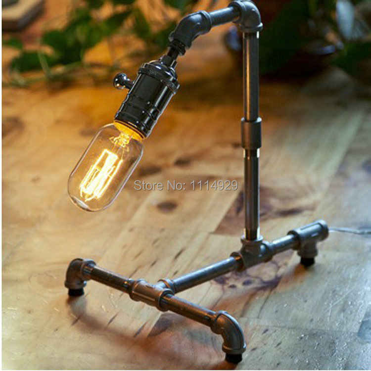 Loft Water Pipe Table Lamp RH Vintage Desk Lights Home Decoration Lamp Antique Bedroom Table Lamps Dimmable with Edison Bulbs<br><br>Aliexpress
