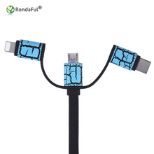 Universal 1m Android Type C+Micro USB Charger+Flat USB Charging/Sync Data Cable for Iphone 5s Wire 3 in 1