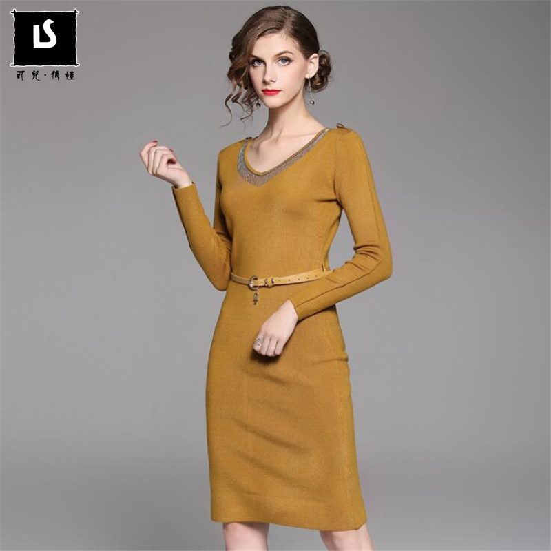 autumn winter dress fashion beading belt Elastic Slim waist Sweater dress women Knitted jumper dresses 2017 new casual vestidoÎäåæäà è àêñåññóàðû<br><br>