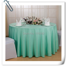 "Big Discount & Factory Price!!!  132"" Dia 10PCS  Lake Blue ROUND TABLECLOTH BANQUET WEDDING SATIN TABLE CLOTH FREE SHIPPING"