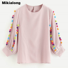 Mikialong Colorful Pom Pom Tassel Chiffon Blouse Women Summer Tops Sweet Pink Loose Puff Sleeve Shirt Women Loose Camisas Mujer(China)