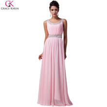 Grace Karin 2017 New Women Summer Pink Long Evening Dresses Dinner Celebrity Party Gown Formal Beaded Prom Dress Long CL6007