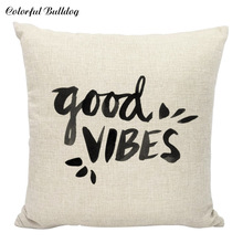 Good Vibes Keep Lover Throw Pillow Case Letter Cushion Cover Black White Gifts Home Decoration Printed Car Sofa Decor Cojines(China)