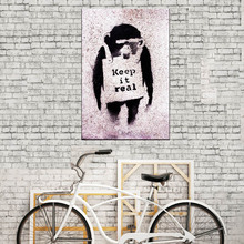 "1 Pcs Banksy Art Graffiti ""Keep it Real"" Street Artwork Wall Art  Abstract Animal Monkey Canvas Prints Painting Home Decor"