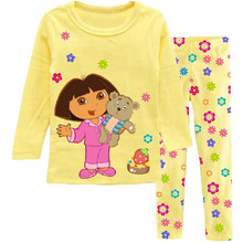 Children's pajamas set Spring&autumn fashion cartoon baby girls clothing set 100% cotton girl's pyjamas Sleepwear yellow p015