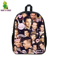 Barney and Robin Backpack Children School Bags TV Show Zachary Quinto Chris Pine Overlay Backpack Women Men Travel Bags Rucksack(China)