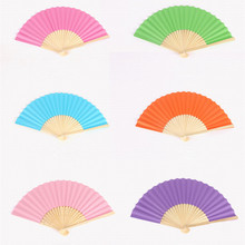 1Pcs Chinese Hand Paper Fans Pocket Folding Bamboo Fan Wedding Party Decor(China)