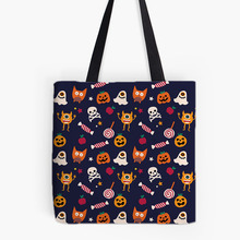 Happy Halloween Designs Printing Tote Bag For Shopping Food Convenience Women Shoulder White Canvas Hand Bags Cute Monster(China)
