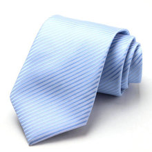 Free Shipping Cheap South korean silk fashion married groom wear commercial tie 8cm light blue stripe(China)
