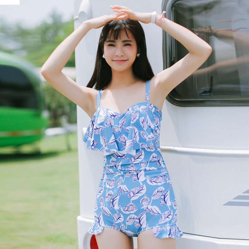 NIUMO NEW one-piece swimsuit woman Skirt type Small chest Gather Hot springs Student swimsuit Beach swim Swimwear<br>