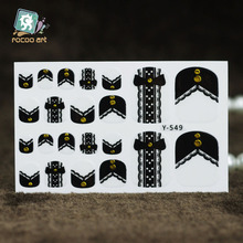 Y5549 Fashion Auto Stick Toe Nail Art Foil Stickers Black Whtie Button Butterfly Bowknot Manicure Adhesive Decal Nail Wraps