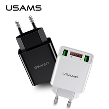 Buy USAMS LED Display Dual USB Phone Charger EU/US Plug Max 2.2A Smart Fast Charging Mobile Wall Charger iPhone iPad Samsung for $4.99 in AliExpress store