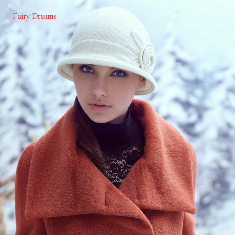 Fairy Dreams Women Winter Beanies Rabbit Wool Knitted Hat The Female Flowers Beading Cute White and Red Solid Skullies 2017(China)