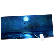 Cennbie Large Mouse Mat 35.4 x 15.5in IN -Moon Night Rubber Oblong MousePad Computer Desk Stationery Accessories Mouse Pads(China)