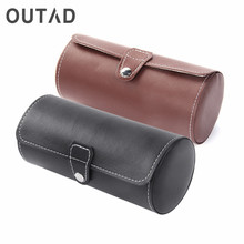 OUTAD Cylinder Shape 3 Grids PU Leather Watches Display Case Watch Boxes Luxury Jewelry Storage Cajas Para Relojes Fashion 2017(China)