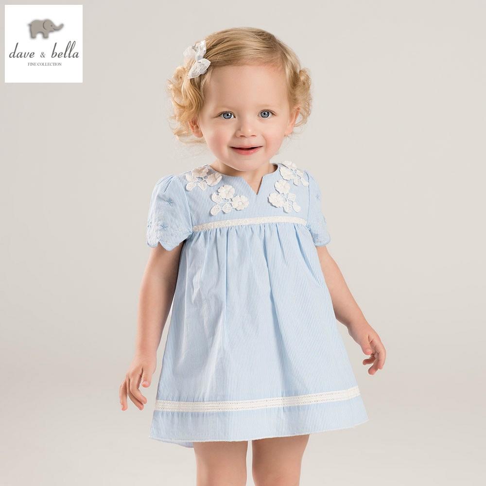 DB5262 dave bella summer baby girls toddle dress childs blue dress kids lolita dress children dress baby fashionable costumes<br>