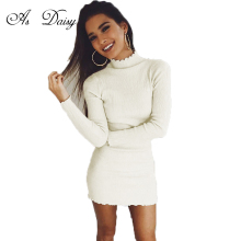 As Daisy 5 Colors High Street Turtleneck Long Sleeve Knitted Dress Women Autumn 2017 Sexy Dresses Casual Bodycon Dress DR1764(China)