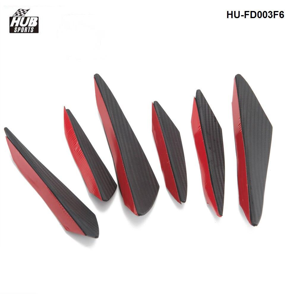 Hubsports 6pcs/lot Car Carbon Fiber Front Bumper Splitter Fins Body Spoiler Canards Valance Chin HU-FD003F6