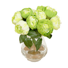 Zero 1 Bouquet 6 Heads Artificial Peony Silk Flower Leaf Home Wedding Party Decor