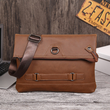 ROLWING Hot Sale Men's Soft Large Capacity Leisure Envelope Bag Male Business Messenger Handbag Mad Horse Leather Ipad Bag MB19
