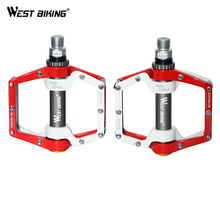 WEST BIKING BMX Parts Dead Fly Ultralight Aluminum Mountain Pedal Bike Bearing Pedals Skid Bike Bicycle Cycling Pedals