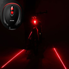 Cycling Bike Bicycle 2 Laser Projector Red Lamps Beam and 3 LED Rear Tail Lights Projection Version Bicycle Rear Tail Lamp