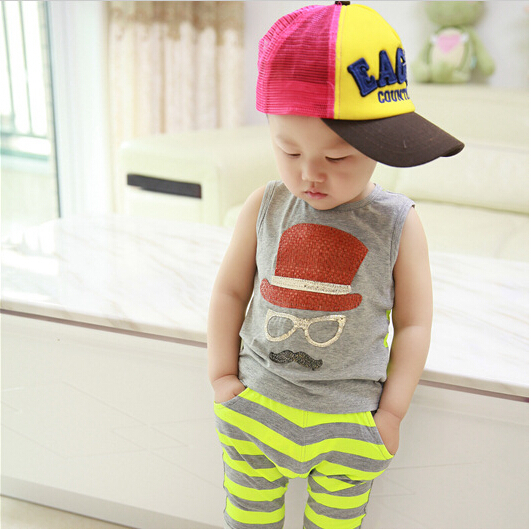 2017 Boy Casual Summer Vest Suit Piece Ed Baby Clothes 1 2 3 Years Old Children 6 Months In Clothing Sets From Mother Kids On Aliexpress Com