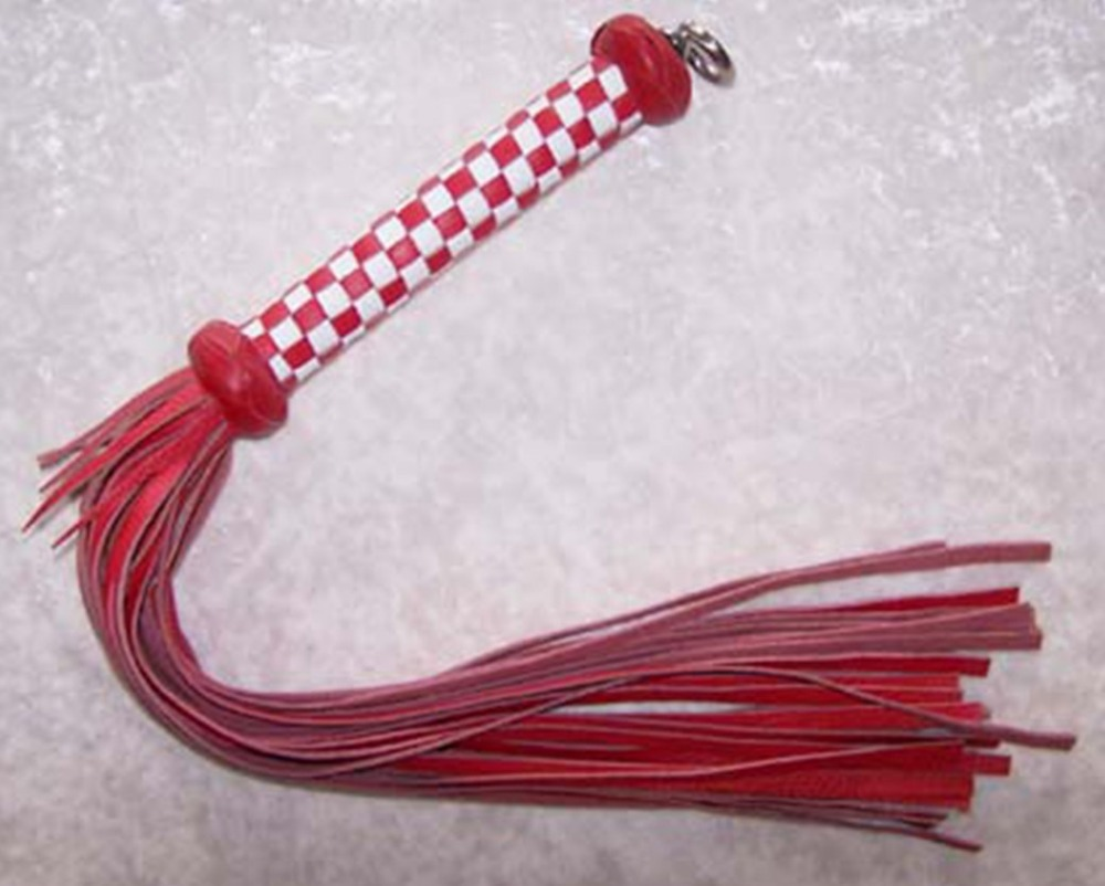 60cm white&amp;red handle leather flogger, handmade horse whip, Horse racing flogger, free shipping knout<br>
