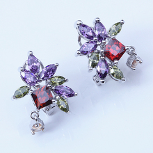 Super supplier Color Crystal Party Items Clip Earrings for women Silver Colour Zircon fashion Jewelry E006A