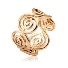 Unisex Hollow Spiral Swirl in Row Ring For Women Men Fashion Casual Finger Accessories Size 7 8 9 10 Yellow Gold Color Bague