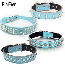 PipiFren Blue Small Large Dogs Collars Cat Rivet Spiked Rhinestone For Puppy Big Dog Pet Product Collar Necklace greyhound Strap(China)