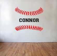 Personalized Baseball Softball Laces with Custom Name Wall Decal DIY Art Kids Teens Bedroom Decor Sticker Vinyl Mural NY-384(China)