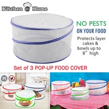 SET OF 3 Pop-up Food Cover  Mesh Screen Outdoor Picnic BBQ Tent Bug Protector Anti Fly Mosquito Kitchen Helper K092